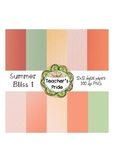 Summer Bliss Set 1 Digital Papers 12x12 PNG {Personal and
