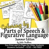 End of Year Summer Coloring by Figurative Language & Parts