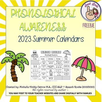 Phonological Awareness Summer Calendars ~ 2015 ~ {FREEBIE}