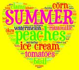 Summer Seasonal Ingredients Food Poster/Clip Art for Decor