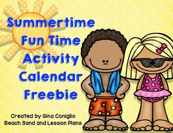 Summer Time Fun Time Activity Calendar