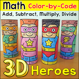 End of the Year Activities - Superhero Math Facts Color by