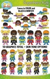 Superhero Kid Characters Clipart Set — Includes 50 Graphics!