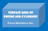 Surface Area of Prism Quiz Worksheet