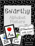 Swarthy {Black & White} Themed Alphabet Posters {modern ch