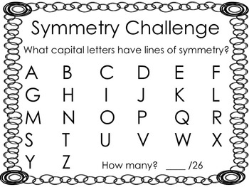 Symmetry Alphabet Challenge FREEBIE