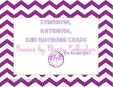 Synonym, Antonym, and Rhyme Card Set
