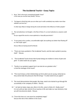 THE ACCIDENTAL TOURIST- 11 ESSAY TOPICS SHEET
