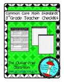 THIRD Grade TEACHER CHECKLIST for Common Core Math Standar