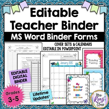 Editable Teacher Binder ~ 2015-2020 with 25+ Plan Book Forms {474 pgs}