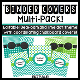 Binder Covers (Editable): Seafoam and Lime Dots and Chevron Theme