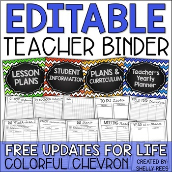 Teacher Binder: EDITABLE Yearly Planner, Gradebook, Logs, Calendar, Forms