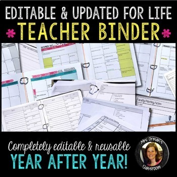 Editable Teacher Binder Bundle: Gradebook, Forms, Lesson Plans, Calendar