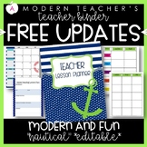 Teacher Binder and Planner Editable :: Free Updates (Nautical)