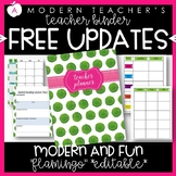 Teacher Binder Planner Organizer, Common Core, Editable, Flamingo