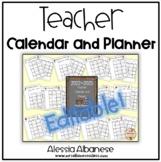 Teacher Calendar and Planner updated for 2015-2016 - EDITABLE!