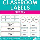 Classroom Organization Labels - Chevron {Editable}