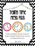 Telling Time Bundle - Worksheets, Quizzes, Games and Printables!