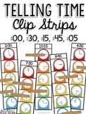 Telling Time Clip Strips (hour, half hour, quarter hour, a