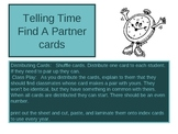"""Telling Time """"Find a Partner"""" kagan strategy cards"""