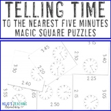 Telling Time to the Nearest Five Minutes Magic Square Puzzles