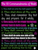 Ten Commandments of Math Poster