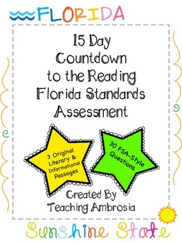 15 Day Countdown to the Reading FSA (Florida Standards Assessment) Test Prep