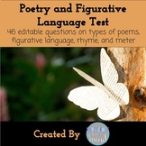 Test on Poetry and Figurative Language with Answer Key