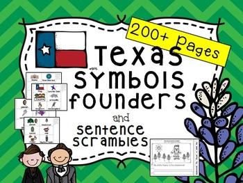 Texas State Symbols and Sentence Scramble (Plus Austin and Navarro)