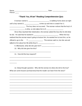 """Thank You, M'am"" Reading Comprehension Quiz Plus Answers"