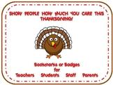 Thanksgiving Thankful Badges & Bookmarks for Teachers, Stu