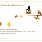 Thanksgiving Antonyms, Multiple Meaning Words, Phonemic Aw