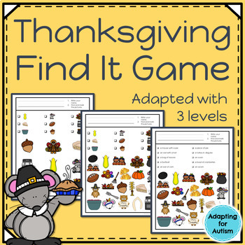 Thanksgiving I Spy: 3 levels of difficulty