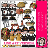 Thanksgiving LINE ART bundle by melonheadz