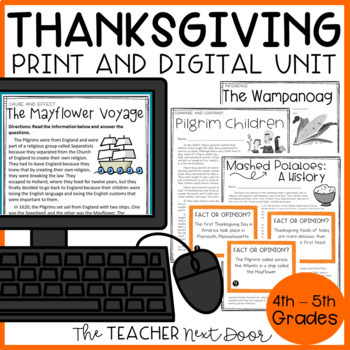 Thanksgiving Literacy Unit: Common Core for 4th and 5th