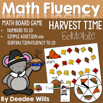 Thanksgiving! Math Fluency 0-9, Addition and Subtraction M