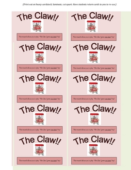 The Claw! Reward Card for Students (Great Incentive!)