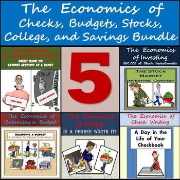 The Economics of Checks, Budgets, Stocks, College, and Savings - 5 Activities!
