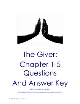 The Giver Chapters 1-5 Questions, Vocabulary and Answer Key