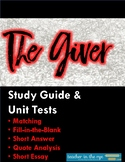 The Giver Unit Tests -- Both with Answer Keys! {CCSS}