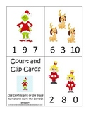 The Grinch Christmas themed Count and Clip Cards child mat
