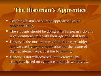 The Historian's Apprentice; Common Core Approach Power Point