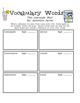 """The Lemonade War"", by J. Davies, Vocabulary Words Packet"