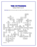 The Outsiders: Reading-for-Detail Crossword--Fun Objective