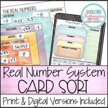 The Real Numbers Card Sort (Rational, Irrational, Integers, Whole, & Natural)