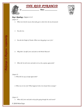 The Red Pyramid Comprehension Questions Chapters 11-20 and key