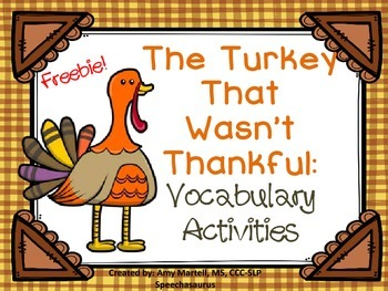 The Turkey That Wasn't Thankful Vocabulary Activities