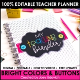 Editable Teacher Binder: Bright Colors and Buttons Theme {