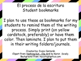 The Writing Process Bookmarks (in SPANISH)