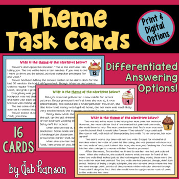 Theme Task Cards: 16 story cards and two options for student response